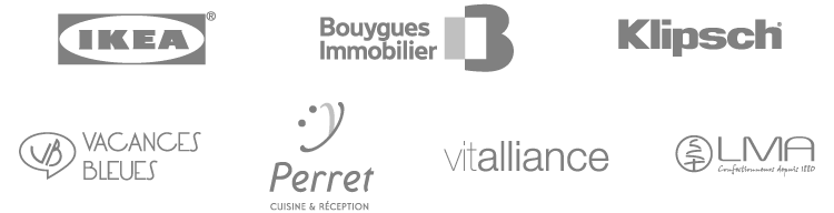 Logotypes Ikea, Bouygues Immobilier, Klipsch, Vacances Bleues, Perret, Vitalliance, LMA